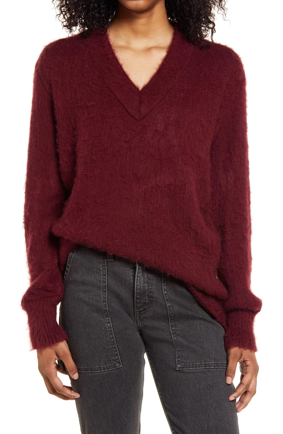 <p><span>BP. Deep V-Neck Fuzzy Tunic Sweater</span> ($22, originally $49)</p>