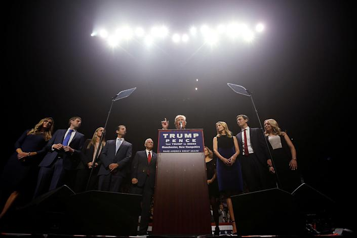 <p>Republican presidential nominee Donald Trump and his family attend a campaign rally in Manchester, N.H., on Nov. 7, 2016. (Photo: Carlo Allegri/Reuters) </p>