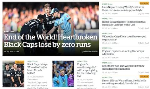 New Zealand Herald's sports page