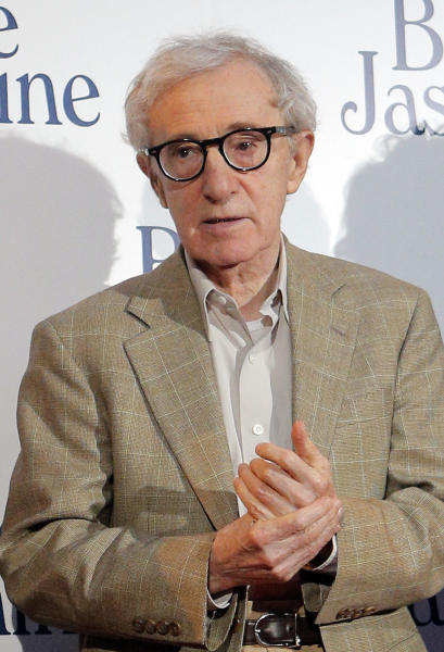 "FILE - This Aug. 27, 2013 file photo shows director and actor Woody Allen at the French premiere of ""Blue Jasmine,"" in Paris. Allen was nominated for an Academy Award for best original screenplay on Thursday, Jan. 16, 2014 for the film. The 86th Academy Awards will be held on March 2. (AP Photo/Christophe Ena, File)"
