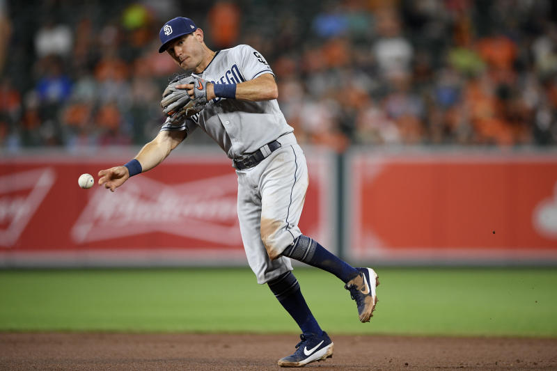 San Diego Padres second baseman Ian Kinsler (3) throws to first during a baseball game against the Baltimore Orioles, Tuesday, June 25, 2019, in Baltimore. The Padres won 8-3. (AP Photo/Nick Wass)