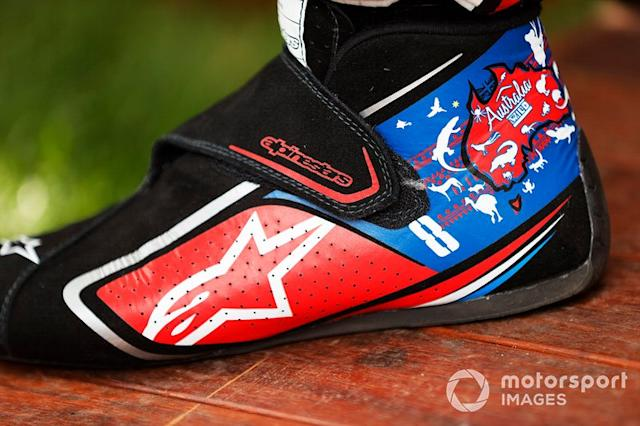 """The boots of Romain Grosjean, Haas F1 Team <span class=""""copyright"""">Andy Hone / Motorsport Images</span>"""