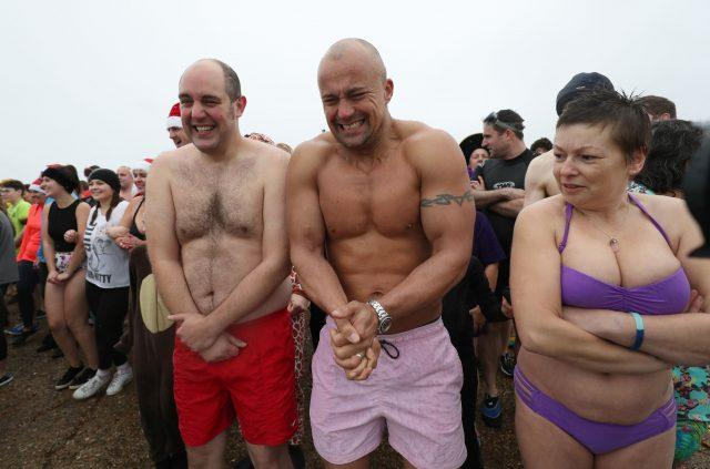 Swimmers prepare to take to the Solent