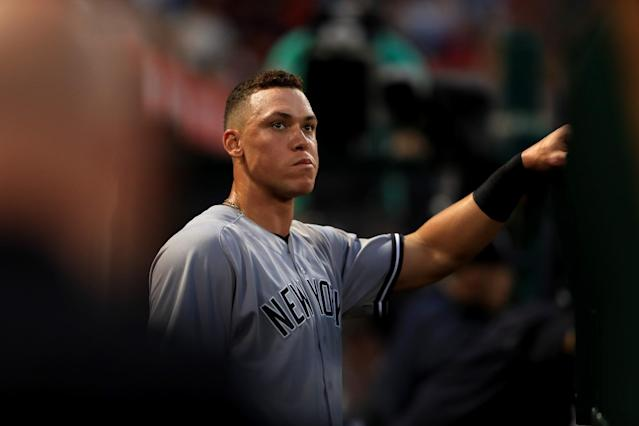 Aaron Judge is hitting .338 with 22 homers and 49 RBIs just 61 games into his rookie season. (Getty Images)