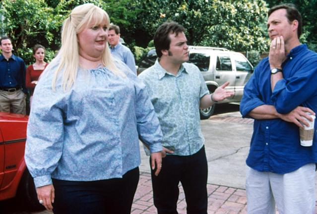 """Gwyneth Paltrow — with Jack Black and Bobby Farrelly on the set of 2001's Shallow Hal — calls the movie, which saw her wearing a fat suit, a """"disaster."""" (Photo: Everett Collection)"""