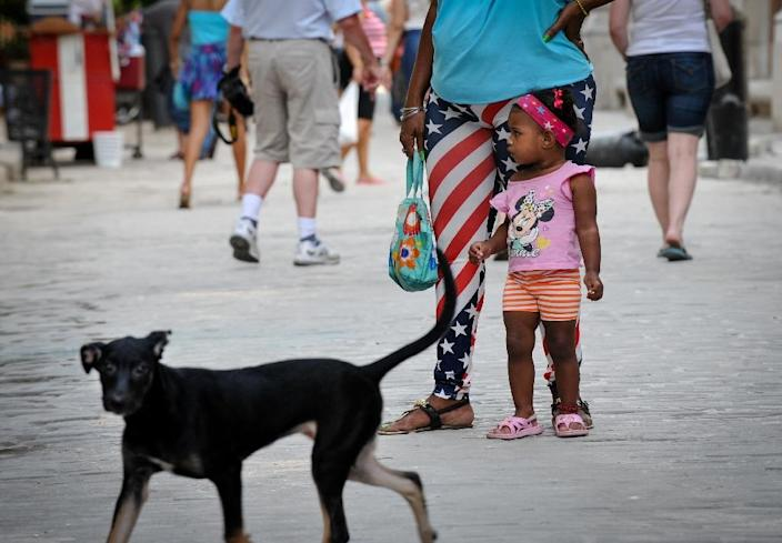 A woman wears leggings depicting the US flag in Havana on January 26, 2015 (AFP Photo/Yamil Lage)