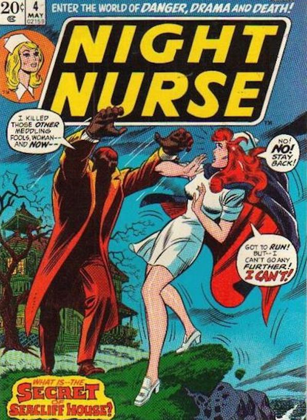 Christine Palmer in peril on the cover of Night Nurse
