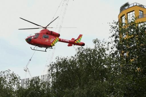 The boy fell from a viewing platform onto a fifth�floor roof and was airlifted to hospital by helicopter