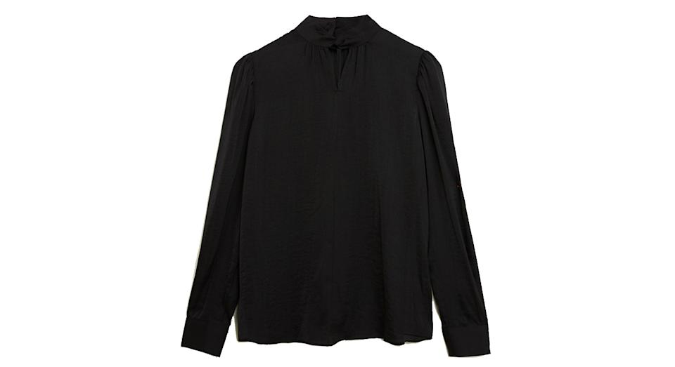 Satin High Neck Long Sleeve Blouse
