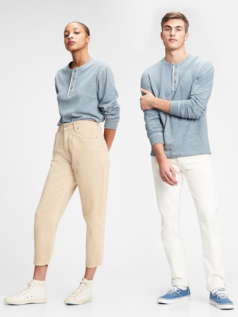 <p>Grab this boyfriend style <span>Gap Marled Henley T-Shirt</span> ($33, originally $45) as a gift for both of you!</p>