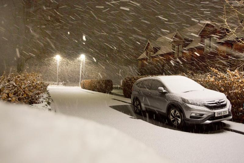 Snow falls in the Scottish Borders as Storm Deirdre hit the British Isles (PA)