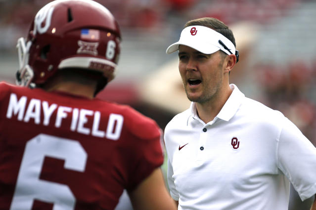Lincoln Riley, right, has to be considered a Coach of the Year candidate, while Baker Mayfield is an early frontrunner for the Heisman Trophy. (AP)