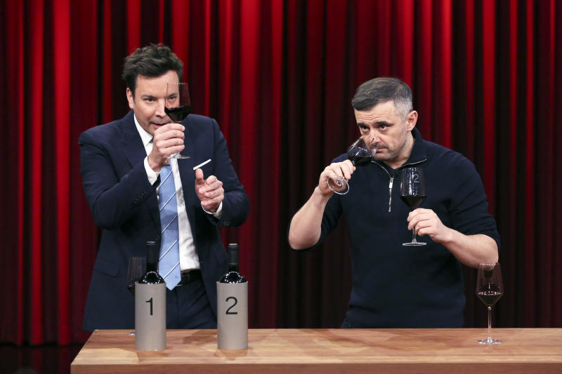 THE TONIGHT SHOW STARRING JIMMY FALLON -- Episode 1164 -- Pictured: (l-r) Host Jimmy Fallon with entrepreneur Gary Vaynerchuk during a Wine Demo on November 26, 2019 -- (Photo by: Andrew Lipovsky/NBC/NBCU Photo Bank via Getty Images)