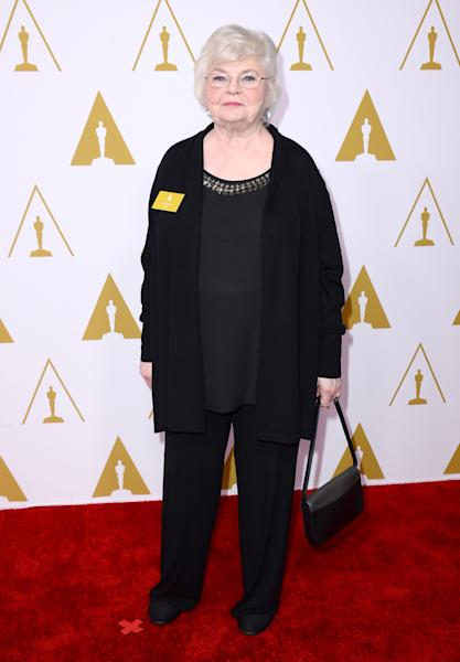 June Squibb arrives at the 86th Oscars Nominees Luncheon, on Monday, Feb. 10, 2014 in Beverly Hills, Calif. (Photo by Jordan Strauss/Invision/AP)