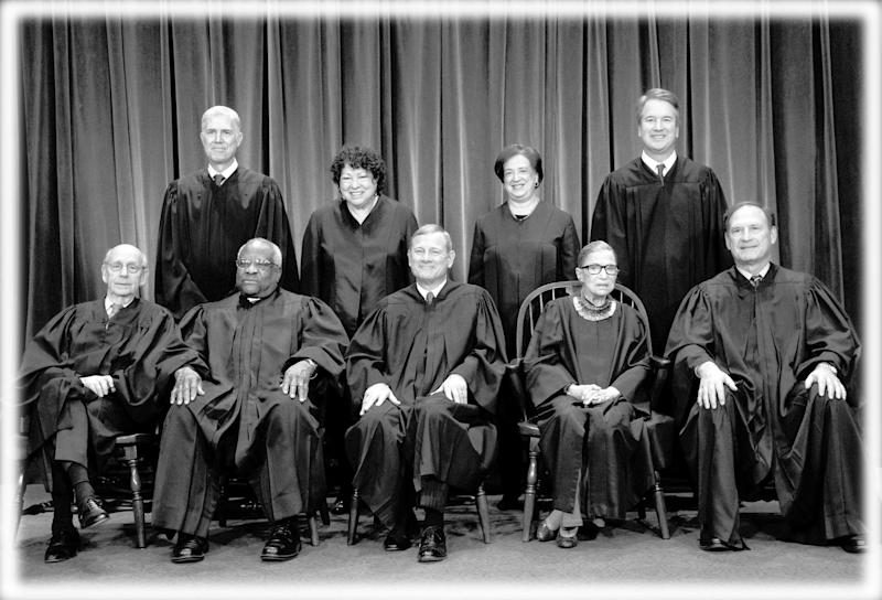 The justices of the U.S. Supreme Court gather for a formal group portrait to include the new Associate Justice, top row, far right, at the Supreme Court Building in Washington, Friday, Nov. 30, 2018. Seated from left: Associate Justice Stephen Breyer, Associate Justice Clarence Thomas, Chief Justice of the United States John G. Roberts, Associate Justice Ruth Bader Ginsburg and Associate Justice Samuel Alito Jr. Standing behind from left: Associate Justice Neil Gorsuch, Associate Justice Sonia Sotomayor, Associate Justice Elena Kagan and Associate Justice Brett M. Kavanaugh. (Photo: J. Scott Applewhite/AP, digitally enhanced by Yahoo News)