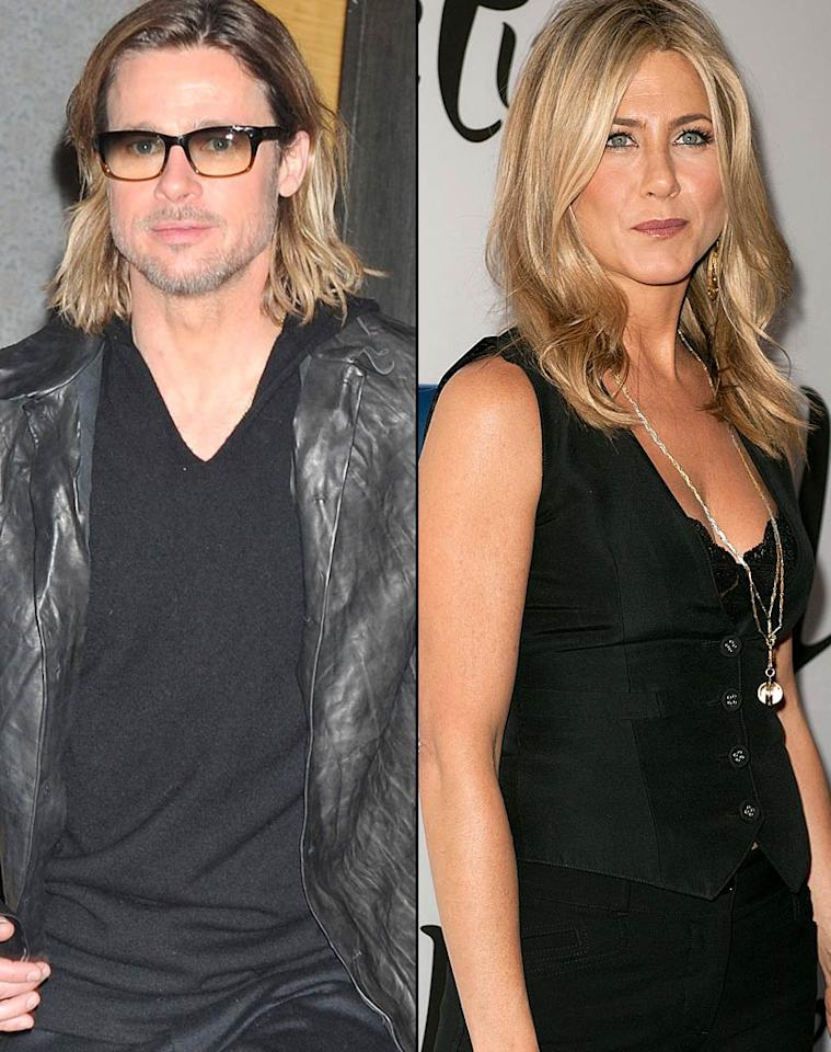 """<em>Star</em> reveals Jennifer Aniston and Brad Pitt are going to be presenters at the Oscars in February, and might """"even present an award together."""" The mag says Pitt and Aniston were approached by the show's producer, who's friends with both of them. For how they were convinced to present together, and why they think it's a good idea, log on to <a href=""""http://www.gossipcop.com/jennifer-aniston-brad-pitt-oscars-presenting-together-academy-awards-2012/"""">Gossip Cop</a>."""