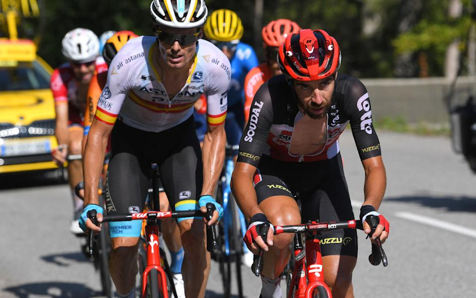 LA ROCHESURFORON FRANCE  SEPTEMBER 17 Luis Leon Sanchez Gil of Spain and Astana Pro Team  Thomas De Gendt of Belgium and Team Lotto Soudal  Breakaway  during the 107th Tour de France 2020 Stage 18 a 175km stage from Mribel to La Roche sur Foron 543m  TDF2020  LeTour  on September 17 2020 in La RochesurForon France Photo by Tim de WaeleGetty Images