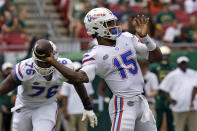 Florida quarterback Anthony Richardson throws a pass against South Florida during the first half of an NCAA college football game Saturday, Sept. 11, 2021, in Tampa, Fla. (AP Photo/Chris O'Meara)