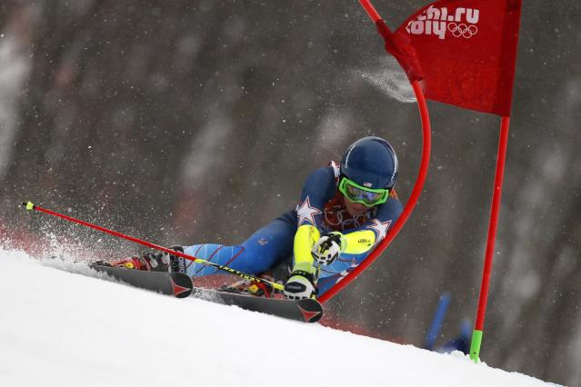 SOCHI, RUSSIA - FEBRUARY 18: (FRANCE OUT) Mikaela Shiffrin of the USA competes during the Alpine Skiing Women's Giant Slalom at the Sochi 2014 Winter Olympic Games at Rosa Khutor Alpine Centre on February 18, 2014 in Sochi, Russia. (Photo by Alexis Boichard/Agence Zoom/Getty Images)