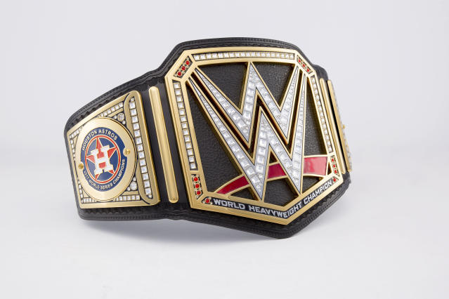 World Wrestling Entertainment is sending the Houston Astros a custom championship title in honor of their first World Series title. (WWE)