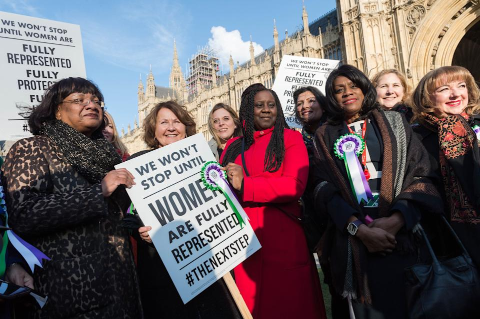 Eleanor Smith, third from right with rosette, with other female Labour politicians including Diane Abbott, left, and Marsha de Cordova, centre. (Photo: Barcroft Media via Getty Images)