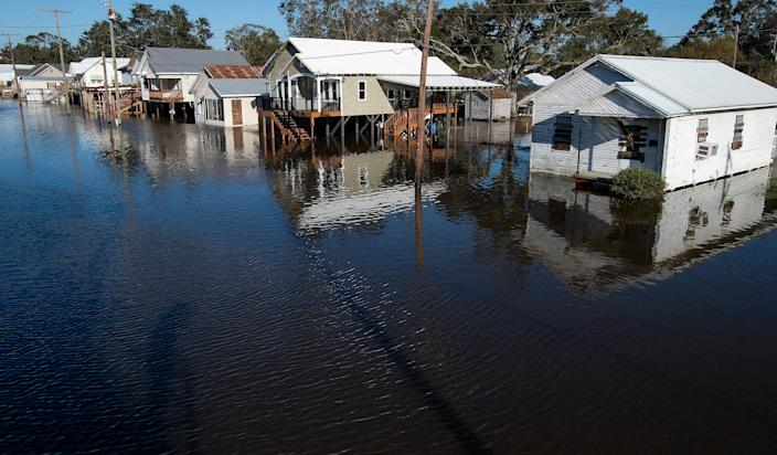 Flooded streets in Delcambre, Louisiana, on Saturday morning after Hurricane Delta hit the southwest Louisiana. Oct. 10, 2020