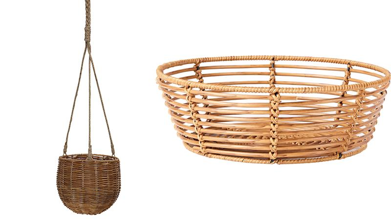 kmart hanging pot and rattan basket