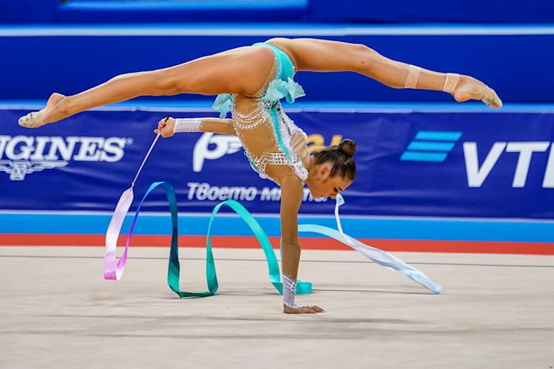 Aleksandra Soldatova of  Russia during Individual Ribbon Final at the Arena Armeec in Sofia at the 36th FIG Rhythmic Gymnastics World Championships on September 13, 2018. (Photo by Ulrik Pedersen/NurPhoto via Getty Images)