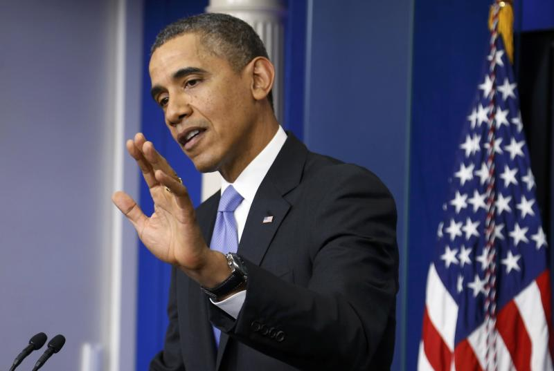 U.S. President Obama addresses year-end news conference in the White House briefing room in Washington