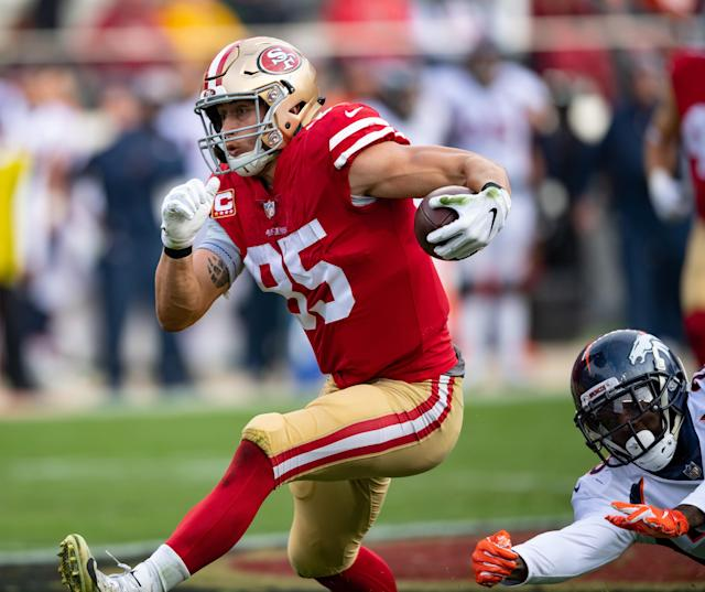 San FRancisco 49ers tight end George Kittle had a monster day against Denver