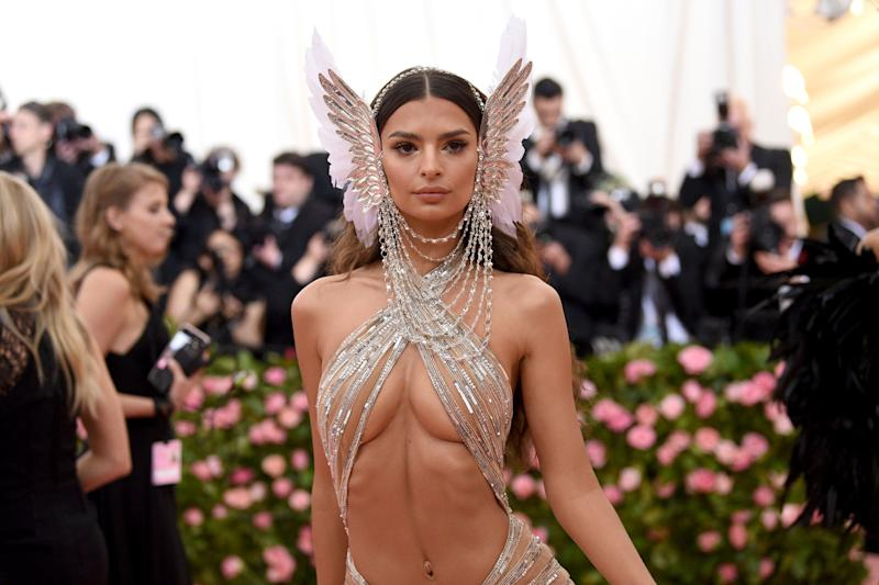 "Emily Ratajkowski attends The Metropolitan Museum of Art's Costume Institute benefit gala celebrating the opening of the ""Camp: Notes on Fashion"" exhibition on Monday, May 6, 2019, in New York. (Photo by Evan Agostini/Invision/AP)"