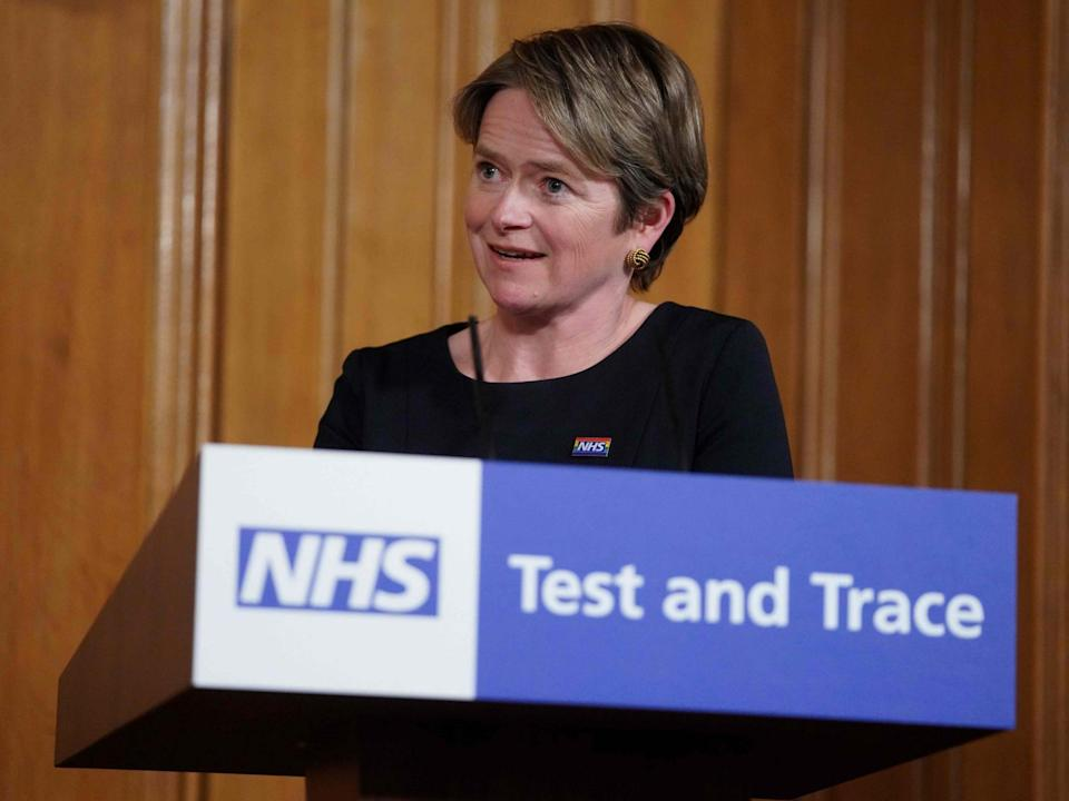NHS Test and Trace's executive chair, Tory peer Baroness Dido Harding: 10 Downing Street/AFP via Getty