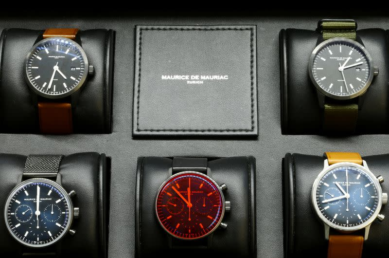 Watches of Swiss manufacturer Maurice de Mauriac are displayed in a box in Zurich