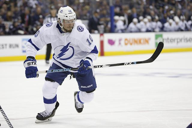 Tampa Bay Lightning's J.T. Miller plays against the Columbus Blue Jackets during Game 3 of an NHL hockey first-round playoff series Sunday, April 14, 2019, in Columbus, Ohio. (AP Photo/Jay LaPrete)
