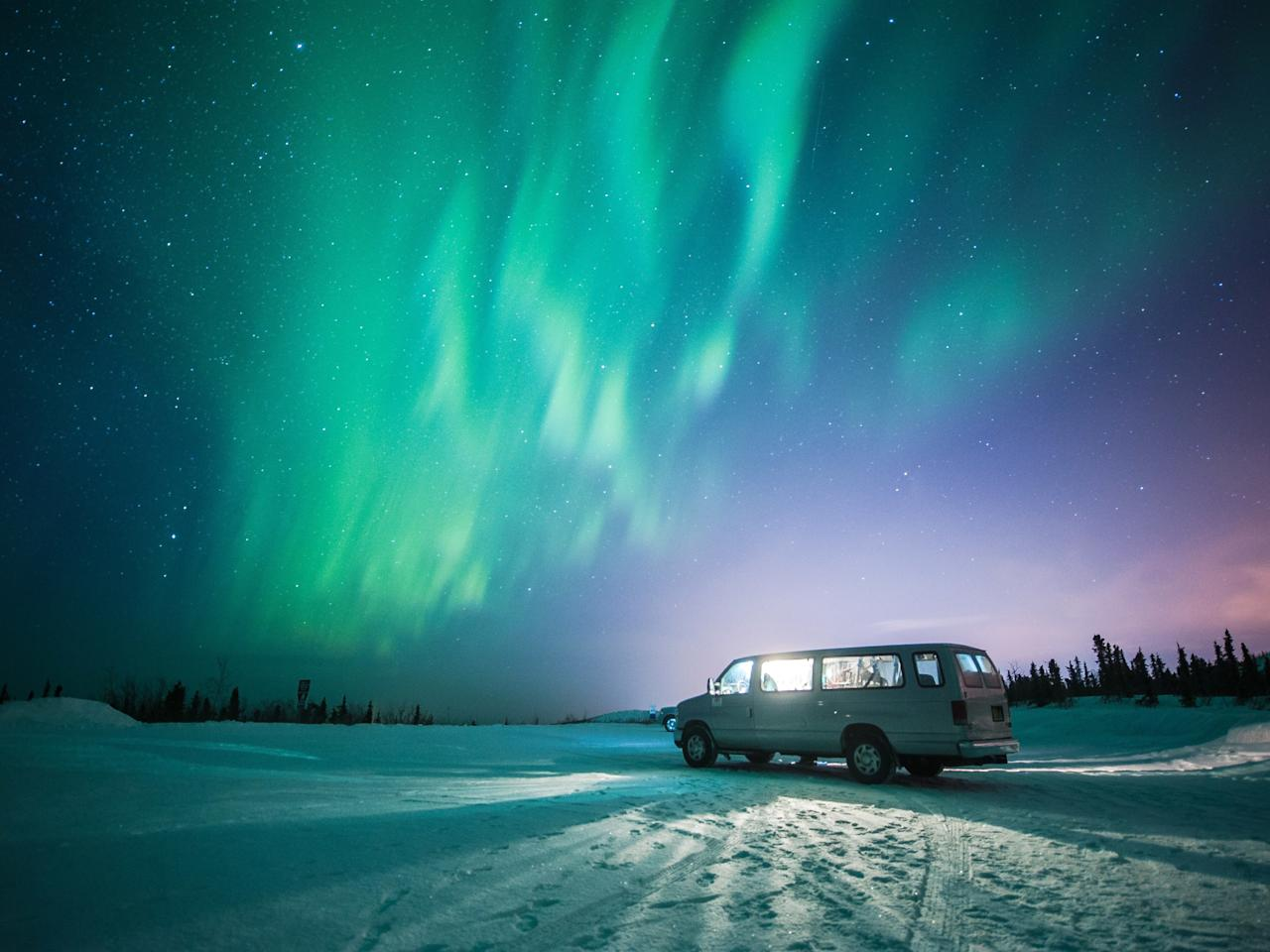 """While summer in Alaska offers lush vegetation and the elusive midnight sun, winter brings out the far north's star attraction: the <a rel=""""nofollow"""" href=""""https://www.cntraveler.com/stories/2011-11-07/best-places-to-stay-to-see-the-northern-lights?mbid=synd_yahoo_rss"""">Northern Lights</a>. Fairbanks (the state's second-largest city) is a particularly ideal place to view the phenomenon, with cloud-free nights and a lengthy aurora season (August 21 through April 21). For a truly unique experience, head to <a rel=""""nofollow"""" href=""""https://www.cntraveler.com/galleries/2014-05-26/swimming-spots-united-states-summer-getaway-photos?mbid=synd_yahoo_rss"""">Chena Hot Springs Resort</a>—one of several hot springs resorts just outside of the city—to watch the light show from the warmth of a mineral pool."""