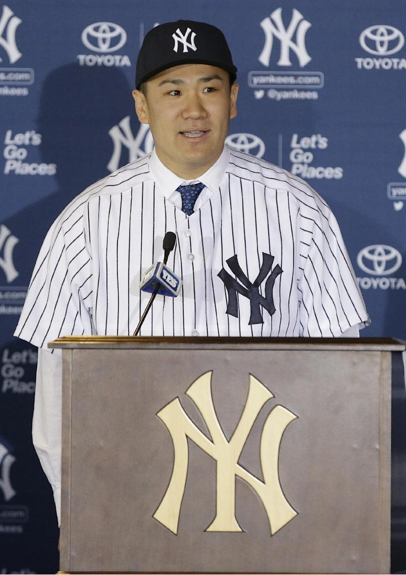 New York Yankees pitcher Masahiro Tanaka, of Japan, speaks during a news conference at Yankee Stadium Tuesday, Feb. 11, 2014, in New York. (AP Photo/Frank Franklin II)