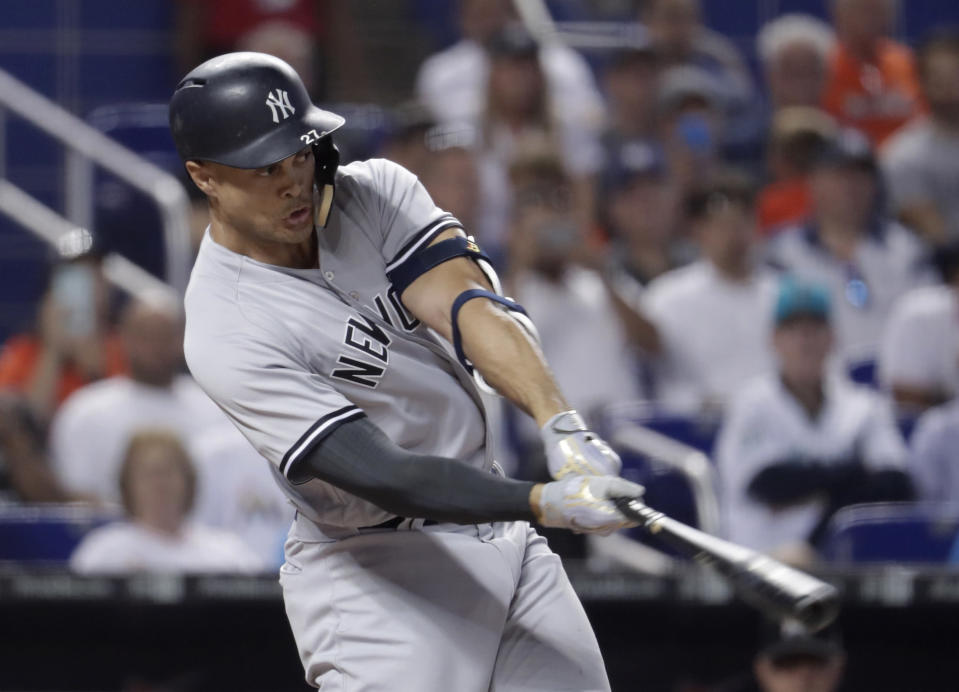 New York Yankees outfielder Giancarlo Stanton is still a great source of power, but there are reasons for concern. (AP Photo/Lynne Sladky)