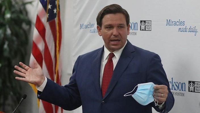 Florida Gov. Ron DeSantis, who has drafted a proposal in response to police brutality protests that took place this summer in the wake of the May 25 killing of George Floyd by Minneapolis officers.(Photo by Joe Raedle/Getty Images)