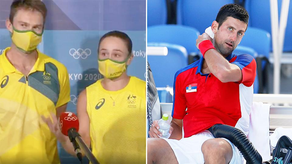 Aussies John Peers and Ash Barty are seen here talking after claiming a bronze medal in mixed doubles.