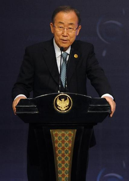 UN Secretary General Ban Ki-moon speaks at the opening of the United Nations Alliance of Civilizations conference in Nusa Dua, Bali on August 29, 2014