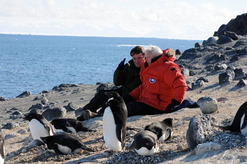 Producer Alastair Fothergill and David Attenborough on location for <i>Our Planet</i>. (Netflix)