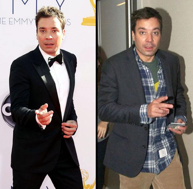 Emmy Awards: Jimmy Fallon strikes a pose on the red carpet. Day after: Fallon arrives at LAX Airport to catch a flight back to New York.