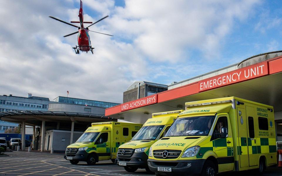 Welsh Air Ambulance flying over the University Hospital of Wales on November 5, 2020 - Huw Fairclough/Getty Images Europe