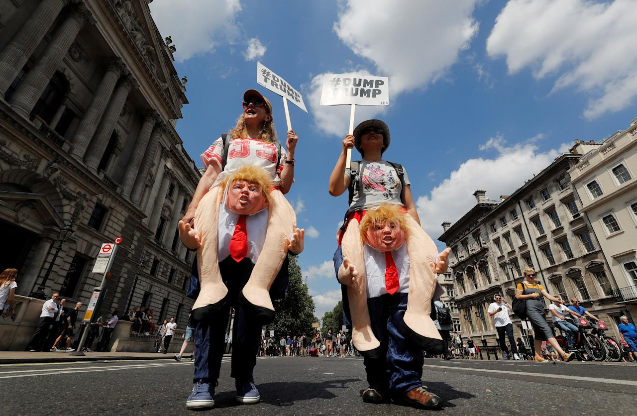 <p>Demonstrators protest against the visit of U.S. President Donald Trump, in central London, Britain, July 13, 2018. (Photo: Yves Herman/Reuters) </p>