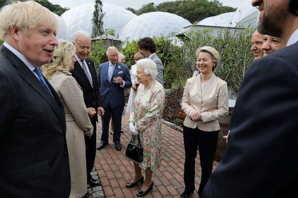 PHOTO: British Prime Minister Boris Johnson, President Joe Biden, first lady Jill Biden along with Britain's Queen Elizabeth II and Prince Charles attend a reception on the sidelines of the G7 summit in Cornwall, Britain. (Jack Hill/Pool/Reuters)