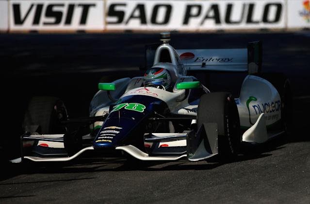 SAO PAULO, BRAZIL - MAY 03: Simona de Silvestro of Switzerland, drives the #78 KVRT Dallara Chevrolet during practice for the IZOD IndyCar series Sao Paulo Indy 300 on May 3, 2013 in Sao Paulo, Brazil. (Photo by Chris Graythen/Getty Images)