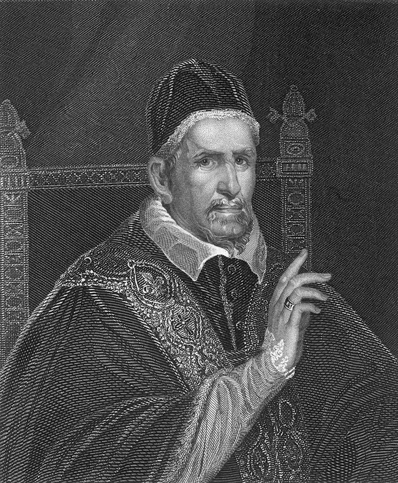 Circa 1620, Portrait of Pope Innocent X (1574-1655). Pope from 1644-55, supported the Habsburgs in the Thirty Years War 1618-48, condemned Jansenism in 1653. Original Artwork: Engraving by Hinchliff after a painting by Velasquez. (Photo by Hulton Archive/Getty Images)