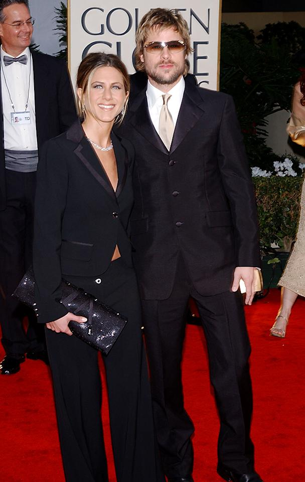 <p>Nominated for her role in <i>Friends</i>, Aniston brings then-husband Pitt to the ceremony. (Photo: Kevin Mazur/WireImage) </p>