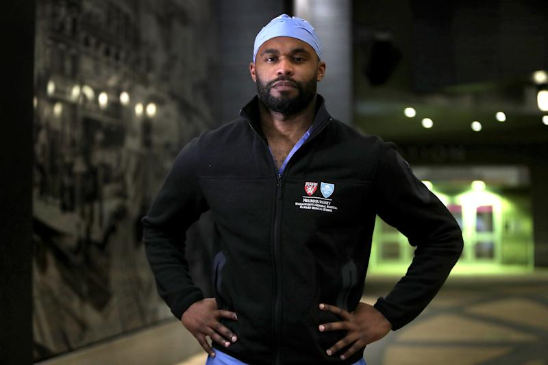 Former Florida State and Tennessee Titans defensive back Myron Rolle, pictured in Boston on April 3, is currently a third-year neurosurgery resident at Massachusetts General Hospital in Boston. (Photo by Barry Chin/The Boston Globe via Getty Images)