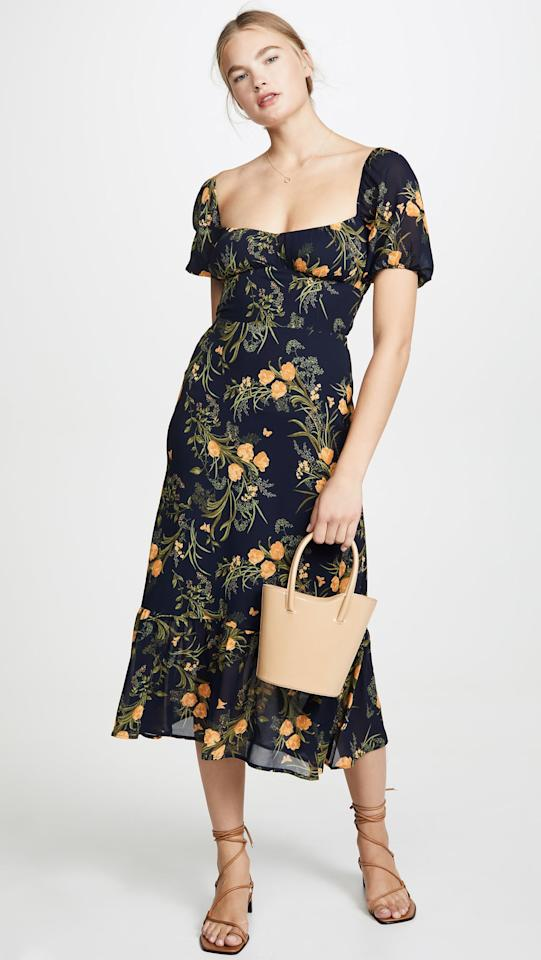 """<p>This <a href=""""https://www.popsugar.com/buy/Reformation-Hannah-Dress-549377?p_name=Reformation%20Hannah%20Dress&retailer=shopbop.com&pid=549377&price=174&evar1=fab%3Aus&evar9=47219426&evar98=https%3A%2F%2Fwww.popsugar.com%2Ffashion%2Fphoto-gallery%2F47219426%2Fimage%2F47221168%2FReformation-Hannah-Dress&list1=shopping%2Cshopbop%2Csales%2Cdresses%2Cspring%20fashion%2Csale%20shopping%2Cfashion%20shopping&prop13=api&pdata=1"""" rel=""""nofollow"""" data-shoppable-link=""""1"""" target=""""_blank"""" class=""""ga-track"""" data-ga-category=""""Related"""" data-ga-label=""""https://www.shopbop.com/hannah-dress-reformation/vp/v=1/1551162831.htm?folderID=15412&amp;fm=other-shopbysize-viewall&amp;os=false&amp;colorId=32502&amp;ref=SB_PLP_EC_9"""" data-ga-action=""""In-Line Links"""">Reformation Hannah Dress</a> ($174, originally $248) is the perfect everyday piece.</p>"""